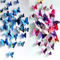 Jual 3D Butterfly Wall Sticker Colorful / Sticker Dinding Kupu-kupu 3D Murah