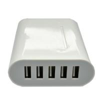 5 Ports USB Charger Travel Adapter 40W 8A (EU Plug) - White