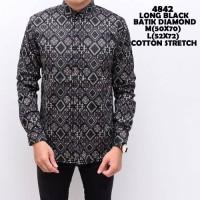 Kemeja Batik Songket Pria Black Panjang Kantor Slimfit Limited