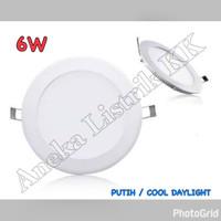 LAMPU DOWNLIGHT PANEL LED 6w PUTIH BULAT 6watt TIPIS PLAFON RUMAH S