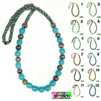 Jual Kalung Batu dayak airmas manik strip warna kalimantan etnik fashion Murah