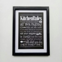 Wall decor / Printed poster / Poster kayu - Kitchen rules