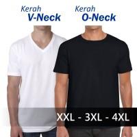 Jual Baju Kaos Polos O-Neck / V-Neck Kaos Oblong Jumbo Big Size XXL 3XL 4XL Murah