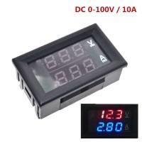 DC 0-100V 10A Digital Voltmeter Ammeter Dual Display Red Blue LED