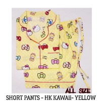 Yellow Hellokitty Kawaii Shortpants Pajamas