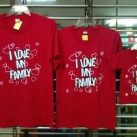 kaos kembaran keluarga couple anak, bunda, ayah motif i love my family