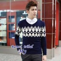 Jual Ramzi Tribal Pakaian Baju Sweater Rajut Korea Pria Murah