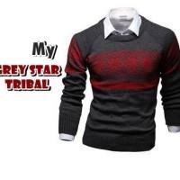 Jual Grey Star Tribal Pakaian Baju Sweater Rajut Korea Pria Murah