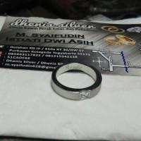 cincin kawin nikah tunangan perak single lspis emas putih(rhodium)