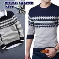 Jual Michael Sweater Navy Pakaian Baju Sweater Rajut Korea Pria Murah