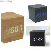 Jam Waker Kayu / LED Digital Wood Clock - JK-808 Diskon