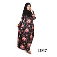 Busana Muslim Gamis Wanita Hitam Bunga Spandex Sutra Top Quality DM7