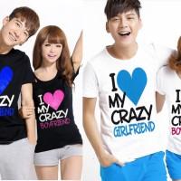 Kaos Couple Crazy Love Boyfriend Girlfriend printing tumblr tee quote