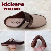 harga Sepatu Sandal Wanita Kickers Elsa Brown Cream Casual Santai Flat Shoes Tokopedia.com