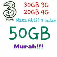 Kartu Perdana Paket Kuota Internet tri / three / 3 Murah 50GB 3G 4G