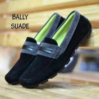 Sepatu Formal Cassual Cowo Men Laki Pria Bally Moccasin Suede Hitam