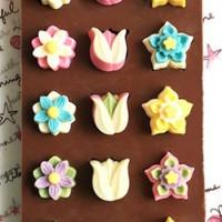 Jual Cetakan silikon coklat es puding silicone 3 macam bunga 15 pcs Murah