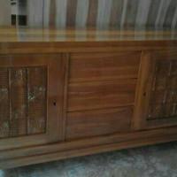 Lemari TV kayu jati model biffet tv minimalis datar