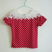 Jual Kaos Wanita / Women T-shirt Warna Merah Motif Polkadot Murah