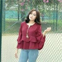 rufly blouse maroon - tunik - top - atasan wanita - baju murah