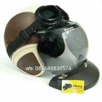 helm retro bogo kulit sintetis coklat light krem (paket 7)