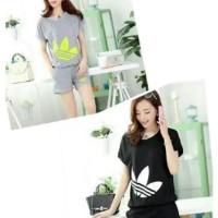 Baju Tidur Setelan Pendek Piyama Kaos Wanita Cewek Sporty Korean Style