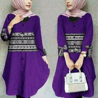 Jual HOT SALE Tunic Purple Combi Batik Kasih Murah