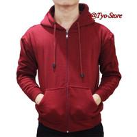 Jual Jaket Hoodie Zipper Merah Maroon Murah