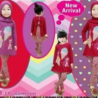 Baju Setelan Muslim Anak Perempuan - Little Pony Ice Cream Garis Pink