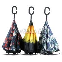 Payung Terbalik MOTIF Fashion unik (Tombol Merah) - Reverse Umbrella