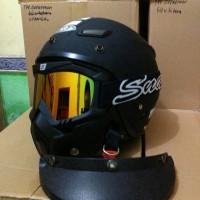 Helm Retro Klasik SNI JPN MOMO Hitam Doff Pakai Google Mask dan Pet