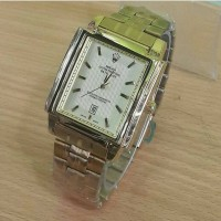 Jam tangan pria, Rolex persegi, tgl aktif/on, Full gold, kw super
