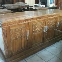 lemari TV kayu jati 4 pintu model biffet rata