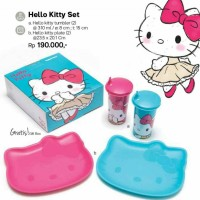 Jual Tupperware Hello Kitty set (1 pcs HK tumbler + 1 pcs HK plate) Murah