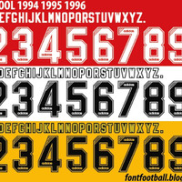 CUSTOM FONT NAMESET LIVERPOOL 1994-96