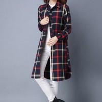 Jual kemeja wanita burberry flanel cotton kerah pakaian kerja fashion sale Murah