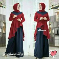 Baju Muslim wanita muslimah Hijab Jenahara V Metris Hijab 3in1 Maroon