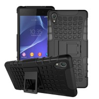 Hard Soft Case Sony Xperia Z2 Casing Cover HP Rugged Armor Kickstand