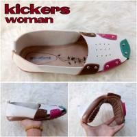 harga Sepatu Sandal Wanita Kickers Queen Slop White Casual Santai Flat Shoes Tokopedia.com