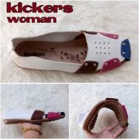 harga Sepatu Sandal Wanita Kickers Queen Slop Putih Casual Santai Flat Shoes Tokopedia.com