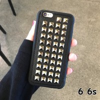FOR IPHONE 6 6S -3D FASHION PUNK STUD LEATHER SOFT SILIKON CASE CASING