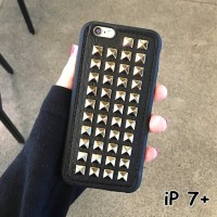 FOR IPHONE 7 PLUS-3D FASHION PUNK STUD LEATHER SOFT SILIKON CASE CASIN