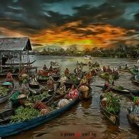 Repro Digital Lukisan Pasar Market Buah Sayur Uang Money Feng Shui