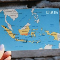 PETA MAP INDONESIA ATLAS KARTU POS POSTCARD POSTCROSSING SURAT UNIK