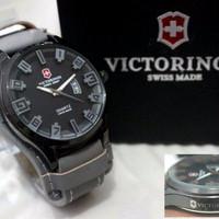Jam Tangan Pria Swiss Army Victorinox Kombo Leather Grey Laris Manis