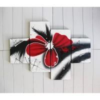 Hiasan Dinding Gambar Lukisan Bunga Abstrak Merah FAFA17