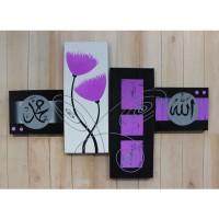 Hiasan Dinding Gambar Lukisan Kaligrafi - Bunga Ungu Abstrak FAFA06