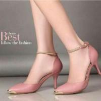 Jual Sepatu Heels Kets Flat Shoes Gelang Hak Tinggi Kulit untuk Wanita