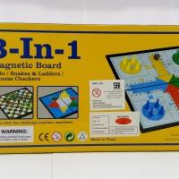Magnetic Board Game 3 In 1 - Ludo-Halma- Ular Tangga- Mainan Edukatif