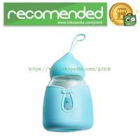 RELEA Botol Minum Pyrex Glass Silicone Cover 350ml - Blue
